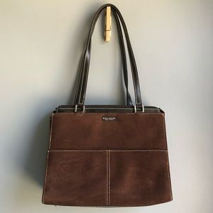 BROWN SEUDE KATE SPADE NEW YORK STRUCTURED PURSE